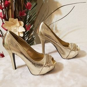 👠Shiehk👠Gold Peep Toe High Heels